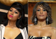 """This combination photo shows singer Jazmine Sullivan in Rydal, Pa., on Jan. 26, 2021, left, and singer Whitney Houston at the BET Honors in Washington on Jan. 17, 2009. Sullivan and Eric Church will perform the national anthem at Sunday's Super Bowl. Houston has arguably the best performance of """"The Star-Spangled Banner"""" at a Super Bowl game. (AP Photo/Evan Agostini, File)"""