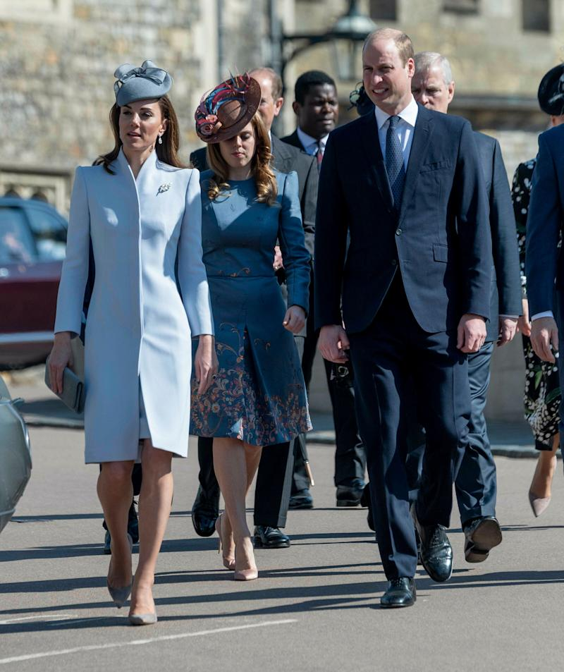 The Duke and Duchess of Cambridge walk without Prince Harry.  (Photo: KGC-178/STAR MAX/IPx)