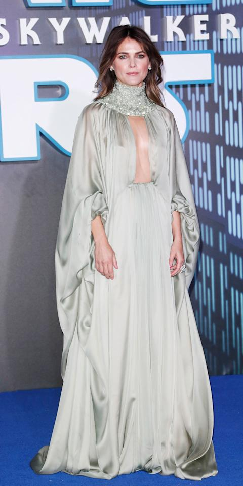 <p>Who said a turtleneck dress can't be sexy? Keri proved this style can really shut down a red carpet when she wore a high-neck, keyhole-slit Stephane Rolland Couture gown at the <em>Star Wars: The Rise of Skywalker</em> London premiere, adding Alexandra Mor jewelry for a little something extra.</p>