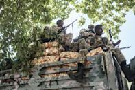 Amhara special forces troops, sitting on top of a truck in Alamata