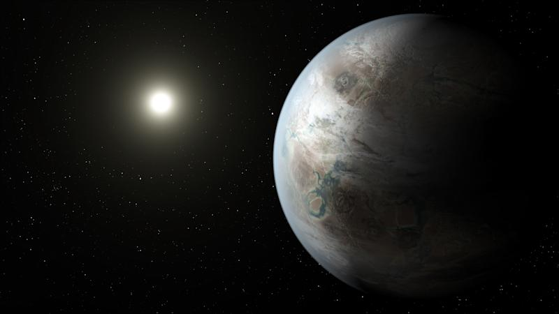 This artist rendering provided by NASA/JPL-Caltech/T. Pyle, taken in 2015, depicts one possible appearance of the planet Kepler-452b, the first near-Earth-size world to be found in the habitable zone of a star that is similar to our sun. NASA says its planet-hunting telescope has found 10 new planets outside our solar system that are likely the right size and temperature to potentially have life on them. (NASA/JPL-Caltech/T. Pyle via AP)