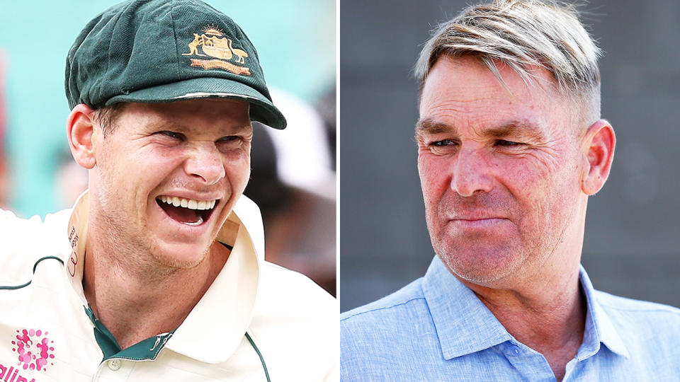 Shane Warne and Steve Smith, pictured here in 2019.