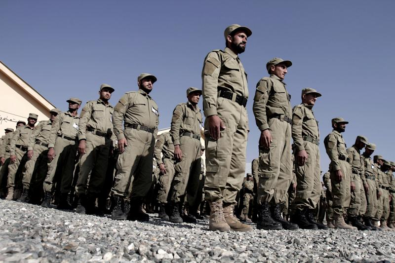 Afghan Local police officers attend their graduation ceremony at a National Police training center in Laghman province, east of Kabul, Afghanistan, Wednesday, Nov. 7, 2012. Over 138 Local police officers graduated after receiving one months of training in Laghman. (AP Photo/Rahmat Gul)