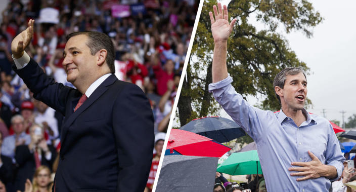 Ted Cruz and Beto O'Rourke (Photos: Evan Vucci/AP, Amanda Voisard/Austin American-Statesman via AP)