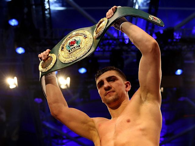 Marco Huck celebrates after winning his IBO Cruiserweight World Championship fight against Ola Afolabi last year (Getty)