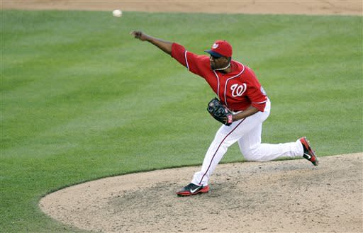 Washington Nationals relief pitcher Rafael Soriano delivers against the San Diego Padres during the ninth inning of a baseball game on Saturday, July 6, 2013, in Washington. The Nationals won 5-4. (AP Photo/Nick Wass)