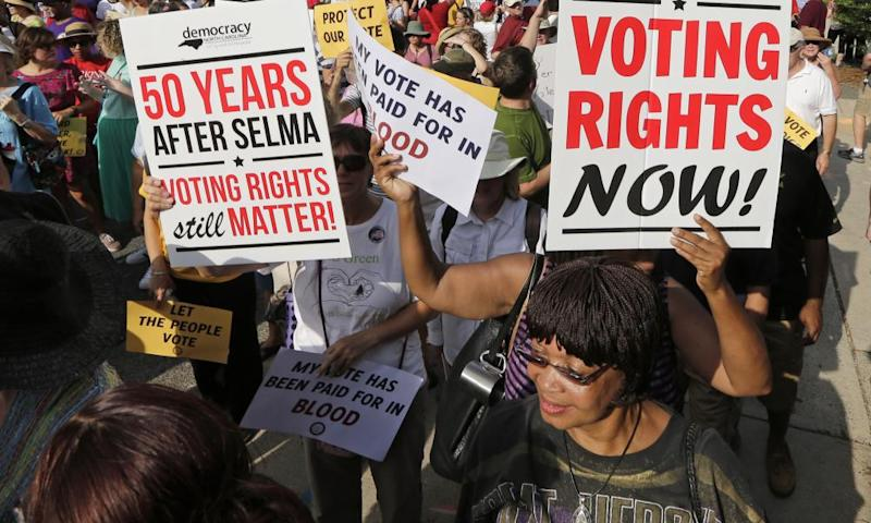 Demonstrators for voting rights march through Winston-Salem, North Carolina in 2015.