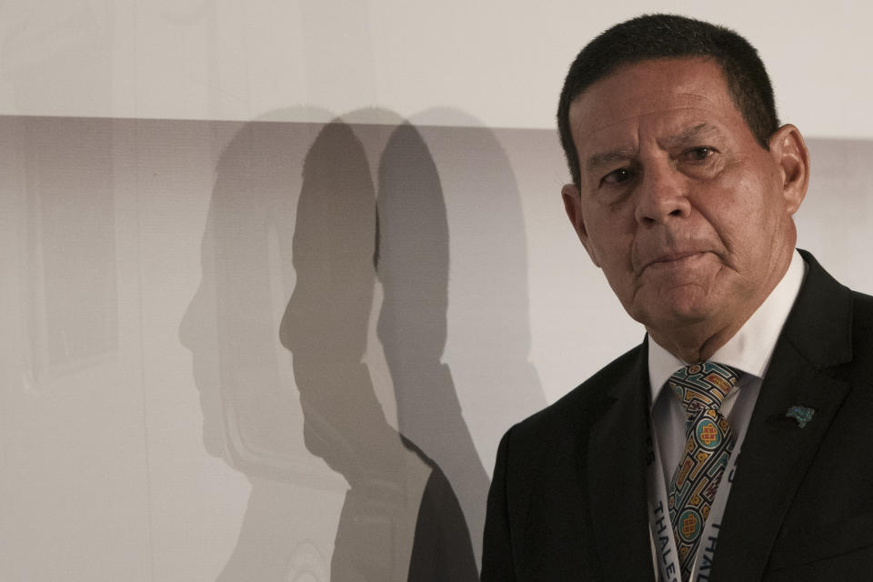 Brazil's Vice President Hamilton Mourao attends the opening ceremony of the LAAD Defence and Security International Exhibition in Rio de Janeiro, Brazil, Tuesday, April 2, 2019. (AP Photo/Leo Correa)