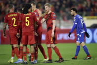 Belgium's Kevin De Bruyne, 2nd right, celebrates after scoring his side's third goal during the Euro 2020 group I qualifying soccer match between Belgium and Cyprus at the King Baudouin stadium in Brussels, Tuesday, Nov. 19, 2019. (AP Photo/Francisco Seco)