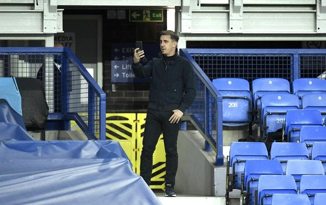 Salford part-owner Gary Neville was at Goodison Park