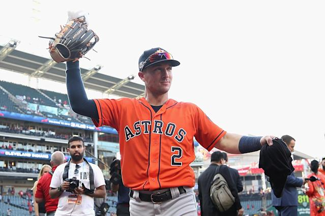 Alex Bregman celebrates with the Astros after beating the Indians in the ALDS. (Getty Images)