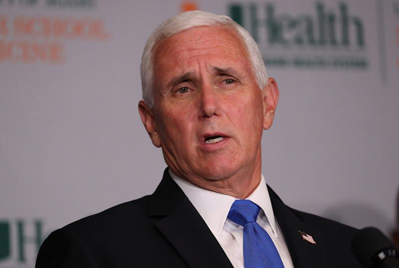 "Vice President Mike Pence met with the group behind a viral video touting the use of hydroxychloroquine to ""cure"" COVID-19. (Photo: Joe Raedle via Getty Images)"