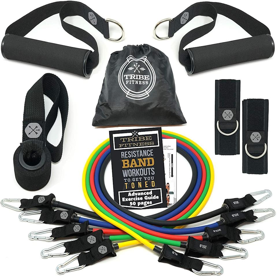 <p><span>Tribe Resistance Bands Set and Weights</span> ($18, originally $27)</p>