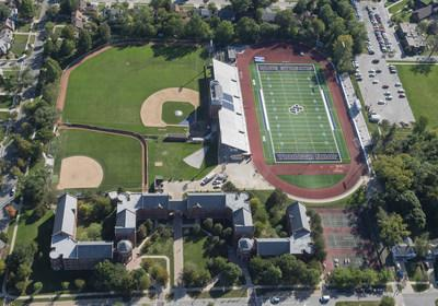 An aerial view from the Goodyear Blimp over John Carroll University in Cleveland for London Fletcher's induction into the College Football Hall of Fame on Friday Sept. 27, 2019. (Phil Long/AP Images for Goodyear)
