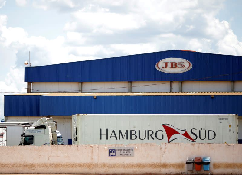 FILE PHOTO: A truck is pictured at the Brazilian meatpacker JBS SA after a Brazil's Federal Police operation in Brasilia