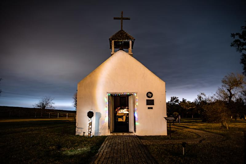 Christmas lights line the doorway of the La Lomita Chapel in Mission, Texas on Jan. 9, 2019. (The Washington Post/Getty Images)