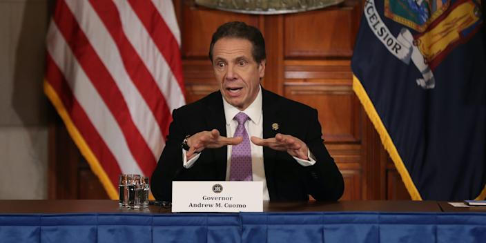 New York Governor Andrew Cuomo speaks during his daily news conference amid the coronavirus outbreak on March 20, 2020 in New York City.