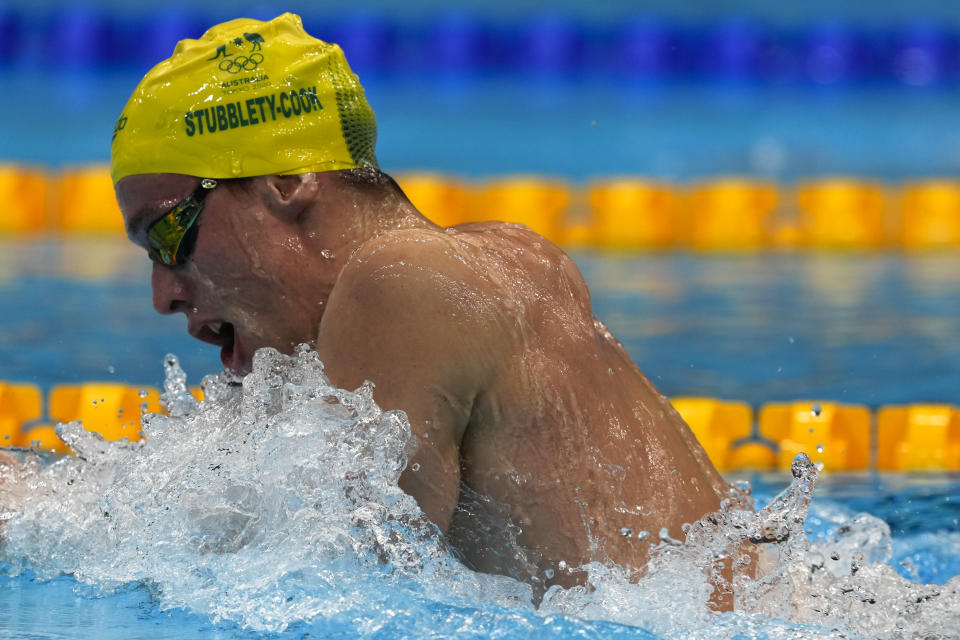 Izaac Stubbblety-Cook, of Australia, swims in the men's 200-meter breaststroke final at the 2020 Summer Olympics, Thursday, July 29, 2021, in Tokyo, Japan. (AP Photo/Martin Meissner)