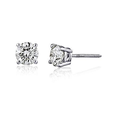 AGS Certified Natural Diamond Earrings For Women in 14K Gold with Screw Back and Post Studs (I1…