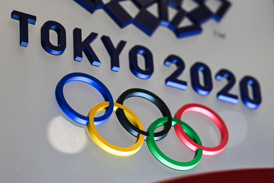 The Tokyo 2020 Olympics Games logo is seen in Tokyo on January 28, 2021. (Photo by Charly TRIBALLEAU / AFP) (Photo by CHARLY TRIBALLEAU/AFP via Getty Images)