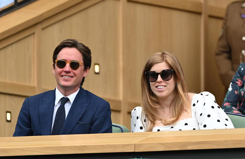 LONDON, ENGLAND - JULY 08: Edo Mapelli Mozzi and Princess Beatrice, Mrs Edoardo Mapelli Mozzi attend day 10 of the Wimbledon Tennis Championships at the All England Lawn Tennis and Croquet Club on July 08, 2021 in London, England. (Photo by Karwai Tang/WireImage)