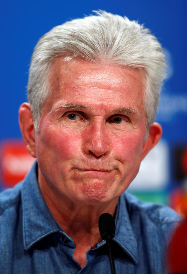 Soccer Football - Champions League - Bayern Munich Press Conference - Allianz Arena, Munich, Germany - February 19, 2018 Bayern Munich coach Jupp Heynckes during the press conference REUTERS/Michaela Rehle