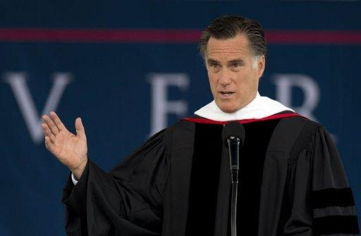 "Republican White House hopeful Mitt Romney, pictured here, firmly rejected same-sex marriage Saturday in a major address at the nation's biggest Christian university. Three days after President Barack Obama voiced support for gay and lesbian marriage, Romney said the ""pre-eminence of the family"" was the cornerstone of the principles that underpin American culture"