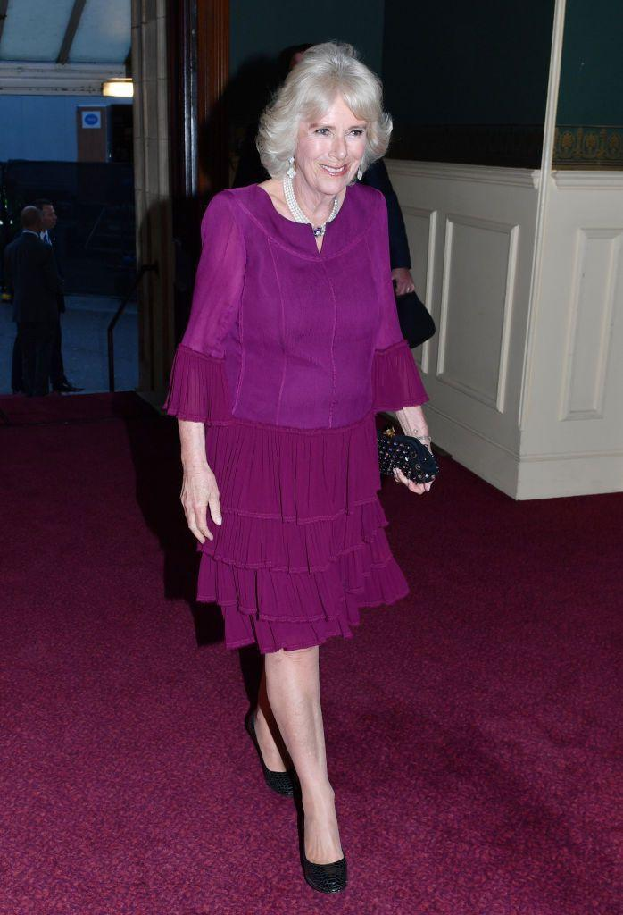 <p>To celebrate the Queen's 92nd birthday, Camilla chose this deep fuchsia dress with a tiered ruffled skirt and ruffled sleeve details. </p>