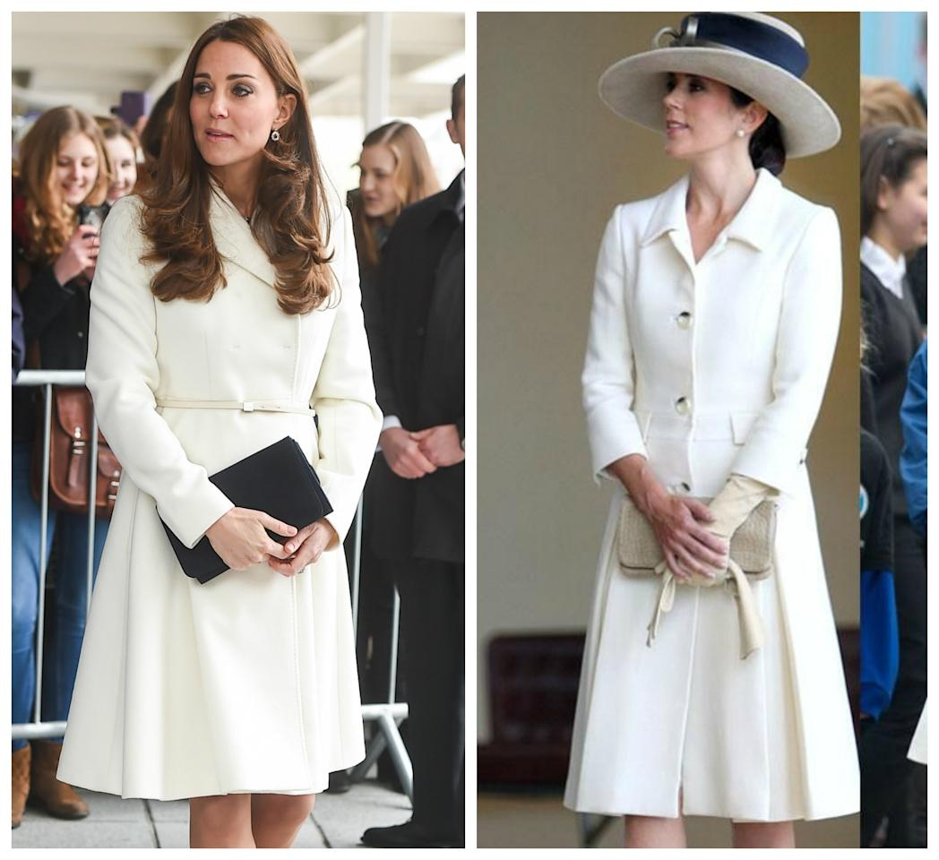 <p>Coats are a must throughout the chilly European winter, and these white ones are timeless and classic. Source: Getty </p>