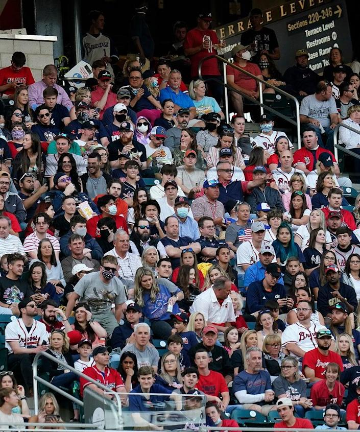 ATLANTA, GA – MAY 08: A full capacity crowd was on hand for the Saturday night MLB game between the Atlanta Braves and the Philadelphia Phillies on May 8, 2021 at Truist Field in Atlanta, Georgia. (Photo by David J. Griffin/Icon Sportswire via Getty Images)