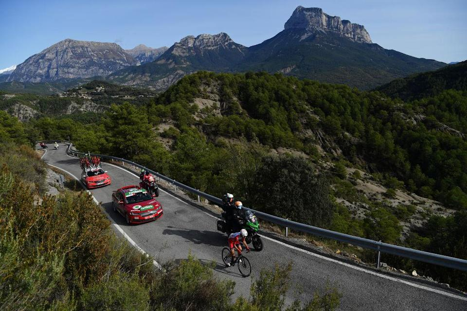 SABIANIGO SPAIN  OCTOBER 24 Guillaume Martin of France and Team Cofidis Solutions Credits  Alto de Vio 1260m  Mountains  Landscape  during the 75th Tour of Spain 2020 Stage 5 a 1844km Huesca to Sabinigo 835m  lavuelta  LaVuelta20  La Vuelta  on October 24 2020 in Sabinigo Spain Photo by Justin SetterfieldGetty Images