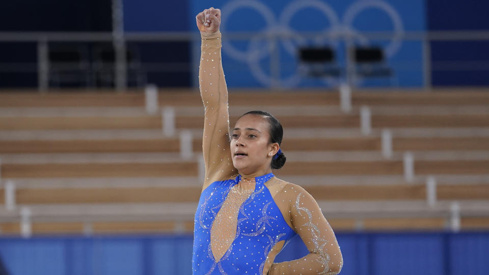 Costa Rica's Luciana Alvarado ended her floor routine with a tribute to Black Lives Matter. (AP Photo/Ashley Landis)