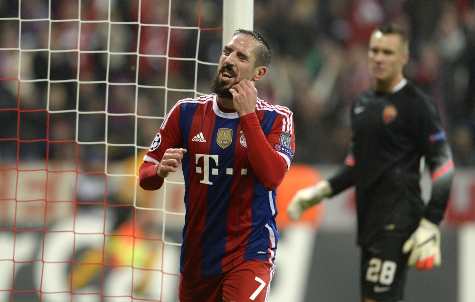 Bayern Munich's Franck Ribery celebrates after scoring during the Champions League match against Roma in Munich on November 5, 2014 (AFP Photo/Christof Stache)