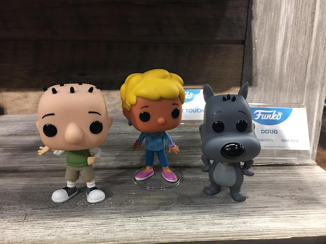 <p>Dig these awesome Funko replicas of Doug Funnie, Patti Mayonnaise, and Porkchop from the classic kids show <em>Doug</em>. (Photo: Ethan Alter) </p>
