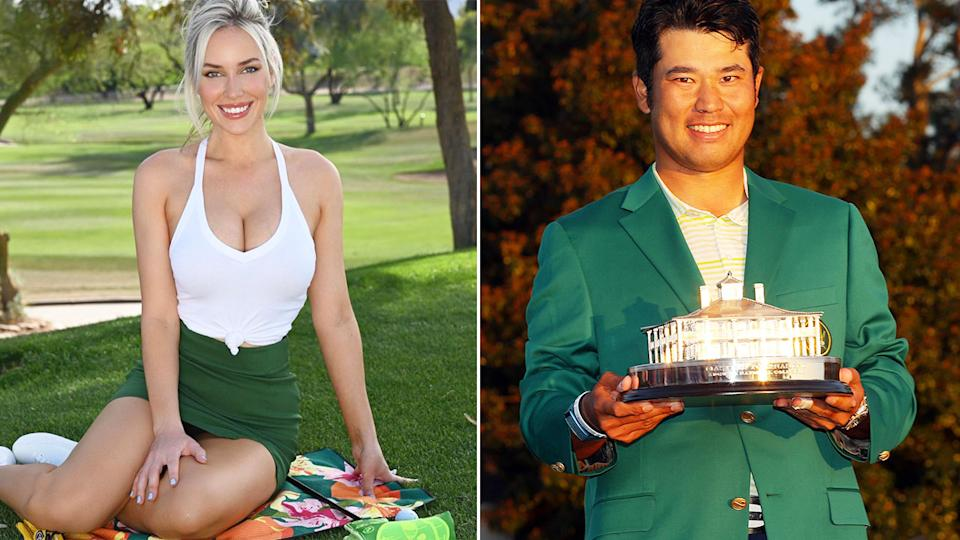 Pictured left, social media star Paige Spiranac and 2021 Masters champion Hideki Matsuyama on the right.