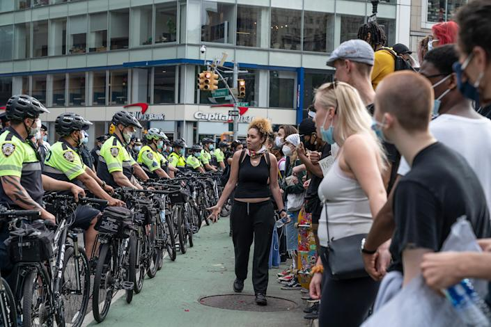 Police at a demonstration Thursday in New York City wore typical uniforms and bike helmets. (Photo: Lev Radin/Pacific Press/LightRocket via Getty Images)