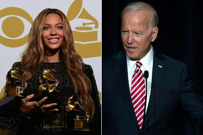Separate incidents involving Beyonce, left, and Joe Biden have triggered a national US discussion on personal space
