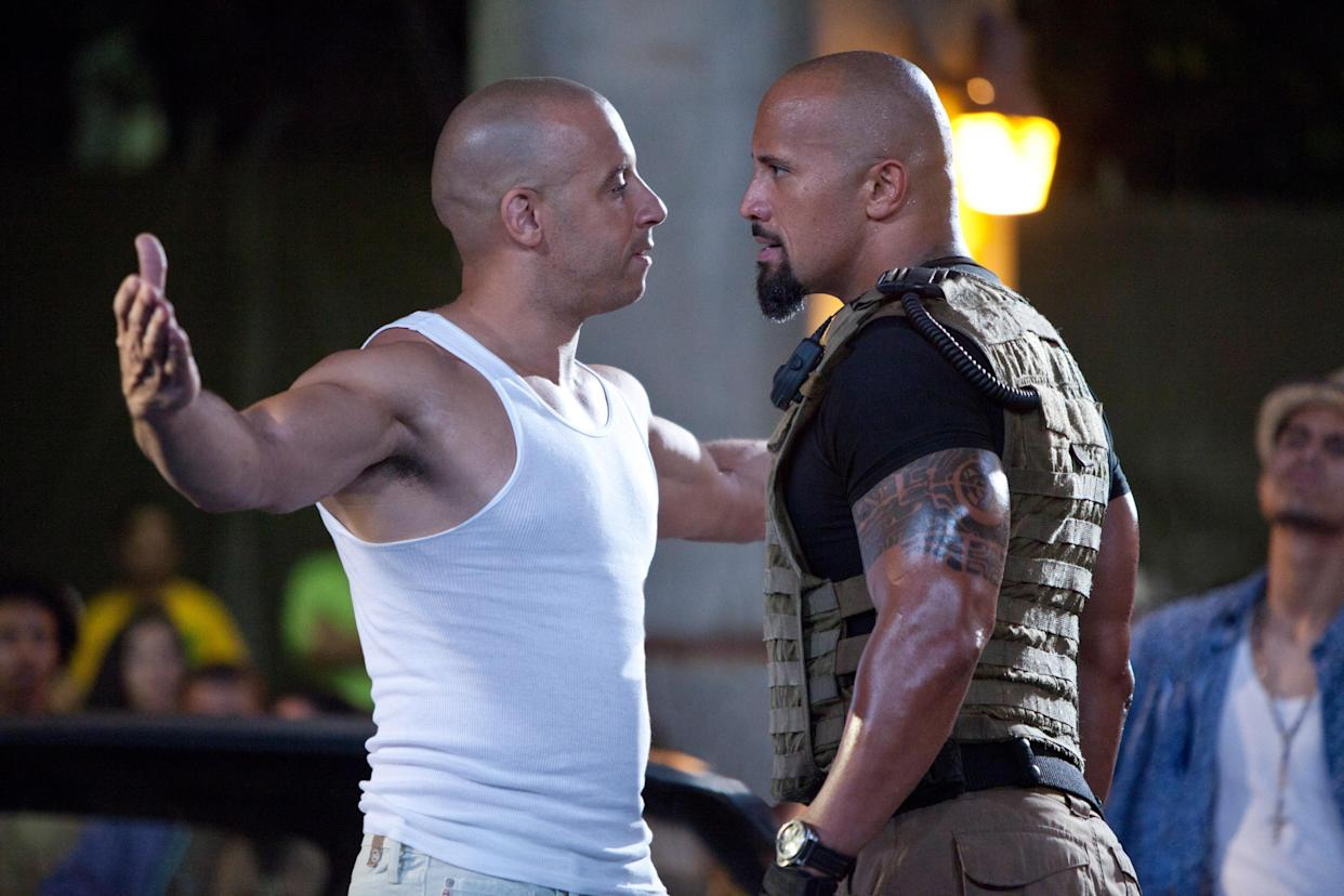 Vin Diesel and Dwayne Johnson met for the first time in 'Fast Five,' the fifth entry in the 'Fast and the Furious' franchise (Photo: Universal/Courtesy Everett Collection)