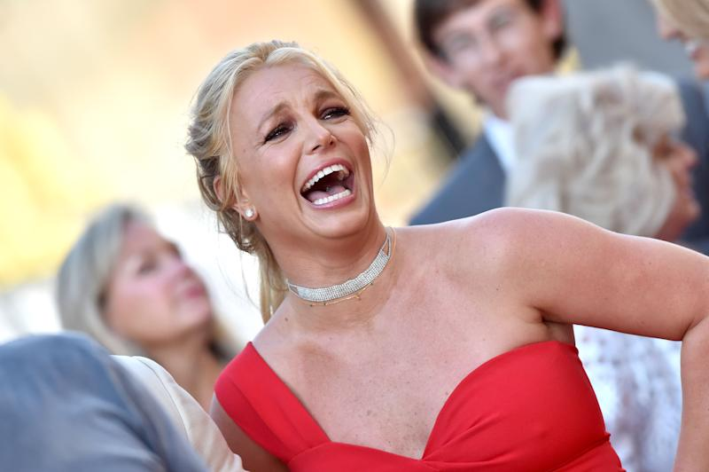 Britney Spears laughing at a movie premiere