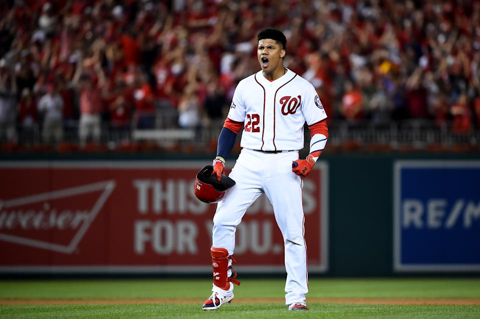 Juan Soto celebrates his clutch hit in the Nationals wild-card game victory. (Photo by Will Newton/Getty Images)