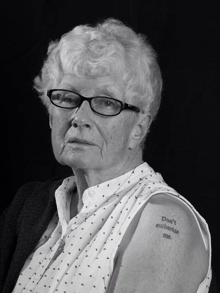 Calgary grandmother Christine Nagel got a tattoo stating 'Don't euthanize me.' Supplied photo from Krysta Jesso