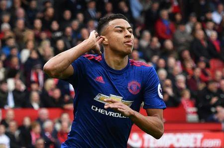 Manchester United's Jesse Lingard celebrates scoring their second goal