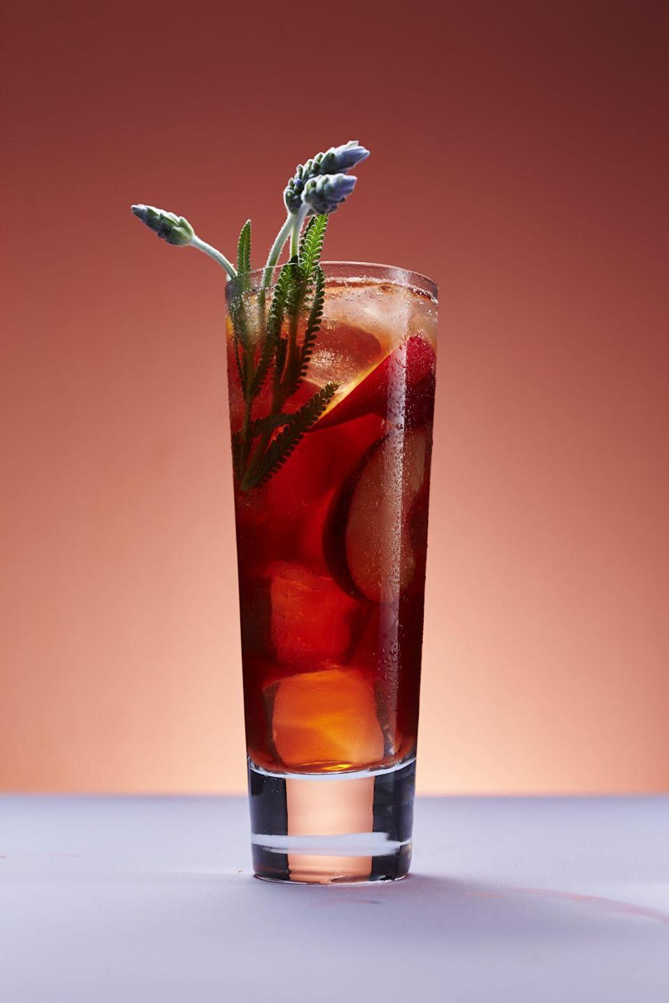 """<p><strong>Recipe: </strong><a href=""""https://www.southernliving.com/recipes/lavender-plum-shrub-recipe"""" rel=""""nofollow noopener"""" target=""""_blank"""" data-ylk=""""slk:Lavender-Plum Shrub"""" class=""""link rapid-noclick-resp""""><strong>Lavender-Plum Shrub</strong></a></p> <p>If you haven't tried a vinegar-based shrub cocktail before, allow us to make the introduction. Our version calls for apple cider vinegar, red plums, vanilla, and fresh lavender to create the fruit-infused sipper. It needs a few days to chill in the fridge before serving so the flavors meld.</p>"""