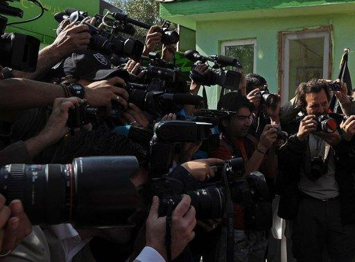 Afghan and foreign journalists at a 2010 press conference in Kabul