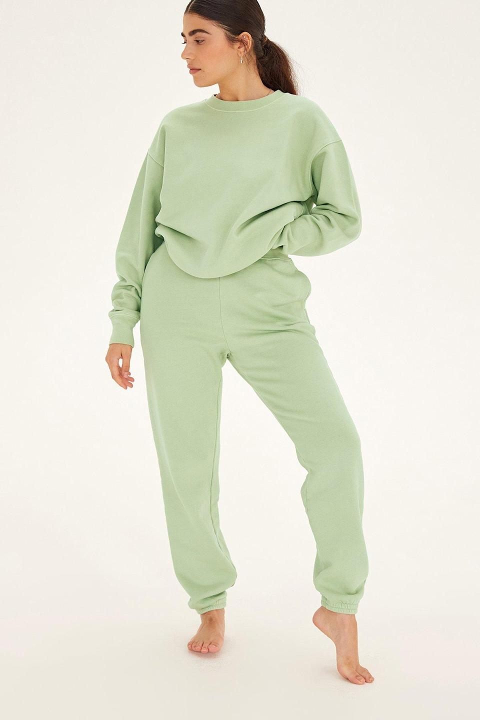 """Prepare to become a complete (cute) couch potato in these cozy sweatpants. $78, Girlfriend Collective. <a href=""""https://www.girlfriend.com/products/pistachio-classic-jogger"""" rel=""""nofollow noopener"""" target=""""_blank"""" data-ylk=""""slk:Get it now!"""" class=""""link rapid-noclick-resp"""">Get it now!</a>"""