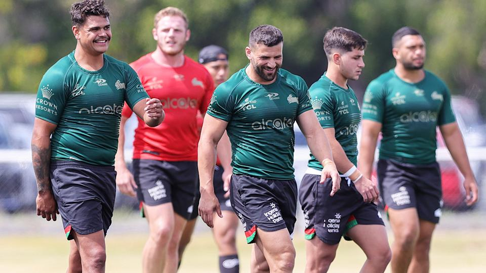 South Sydney players, pictured here during a training session ahead of the grand final.