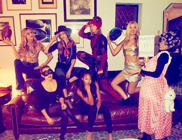 "<p>On Halloween night, Swift (disguised as Deadpool) and her squad, including models Gigi Hadid and Martha Hunt, made for a motley crew. ""Happy Halloween from Deadpool, a Cub Scout, Martha Brady, a space cadet, a granny with a lost cat, black swan, and a birthday girl dressed as a cat,"" she shared with fans. (Photo: <a href=""https://www.instagram.com/p/BMQBKFkBVcd/?taken-by=taylorswift&hl=en"" rel=""nofollow noopener"" target=""_blank"" data-ylk=""slk:Instagram"" class=""link rapid-noclick-resp"">Instagram</a>) </p>"