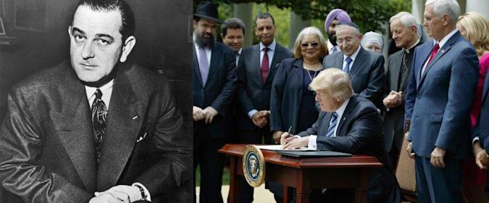 Sen. Lyndon B. Johnson in 1954, left. President Trump signs an executive order aimed at easing an IRS rule limiting political activity for religious organizations. (Photos: Keystone-France/Gamma-Keystone via Getty Images, Evan Vucci/AP)
