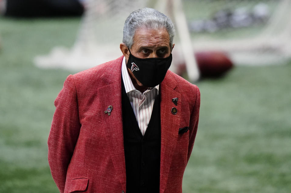 Atlanta Falcons owner Arthur Blank says he is 'colorblind' when it comes to the hiring process, which is a problem in and of itself. (AP Photo/Brynn Anderson)