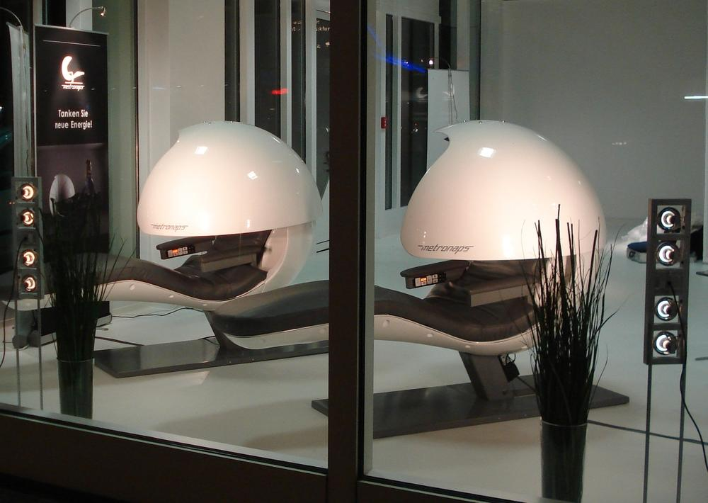<p><span>MetroNaps</span><span>, which started in 2003, brings the latest sleep technology into the workplace of others. It has installed its 'EnergyPods' in hundreds of offices for scores of businesses around the globe, from Google in the US to Virgin Health in Australia. (Picture: MetroNaps)</span> </p>